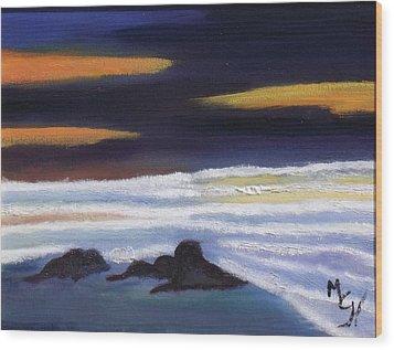 Evening Sunset On Beach Wood Print