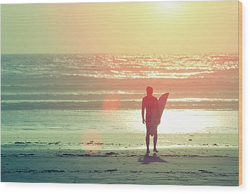 Evening Surfer Wood Print by Paul McGee