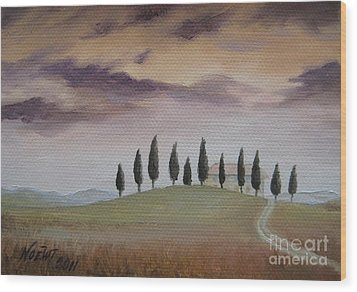 Wood Print featuring the painting Evening Tuscany by Jindra Noewi