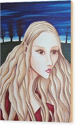 Wood Print featuring the drawing Eventide by Danielle R T Haney