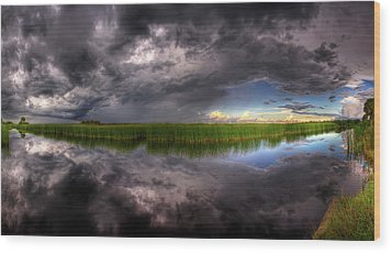 Everglades Reflection Wood Print by Nick  Shirghio