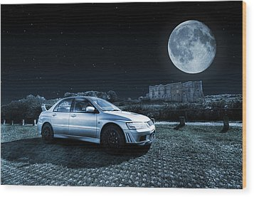 Wood Print featuring the photograph Evo 7 At Night by Steve Purnell