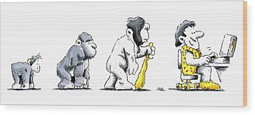 Evolution Of Man Wood Print by Detlev Van Ravenswaay