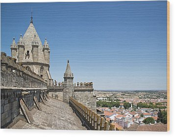 Evora View From Rooftop Of Cathedral Evora, Wood Print by Stefan Cioata