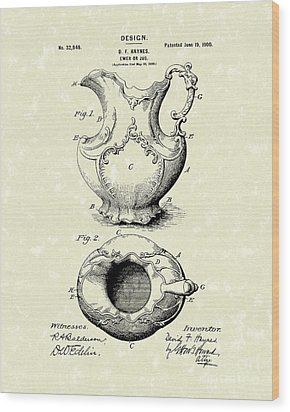 Ewer Or Jug Design 1900 Patent Art Wood Print by Prior Art Design