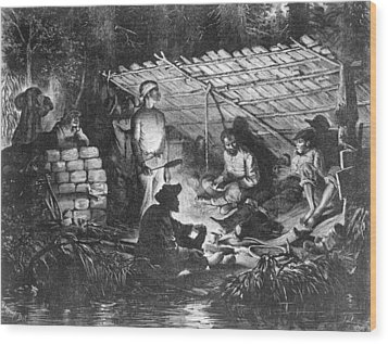 Ex-slaves Hiding In The Swamps Wood Print by Everett