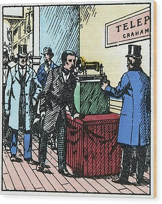 Exhibition Of Bell's Telephone, 1876 Wood Print by Cci Archives