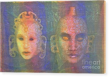 Wood Print featuring the painting Exotic Couple by Nareeta Martin