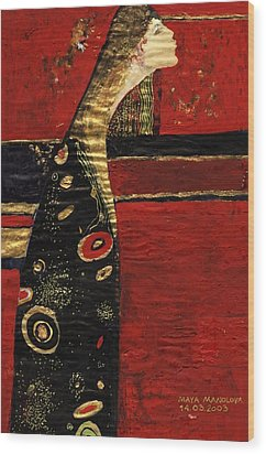 Wood Print featuring the painting Expectation by Maya Manolova