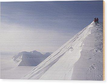 Expedition Skiers Climb Nemtinov Peak Wood Print by Gordon Wiltsie