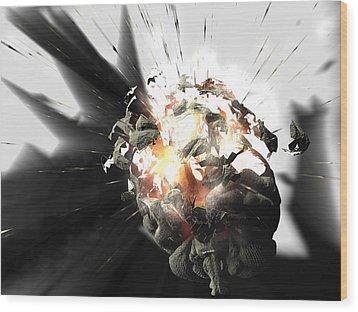Exploding Brain Wood Print by Christian Darkin