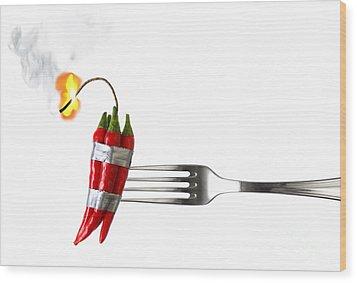 Explosive Food Wood Print by Carlos Caetano