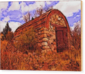 Explosives Shed Wood Print by Howard Perry