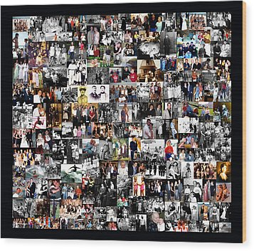 Extended Family Photo Collage Wood Print by Maureen E Ritter