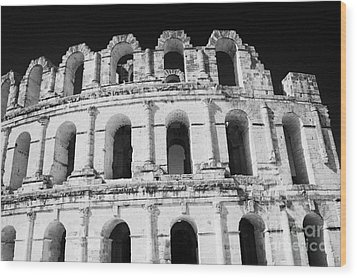 External View Of Three Upper Tiers Of Archways Of Old Roman Colloseum El Jem Tunisia Wood Print by Joe Fox