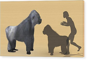 Extinct Giant Gorilla Wood Print by Christian Darkin