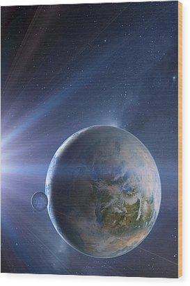 Extrasolar Earth-like Planet, Artwork Wood Print by Detlev Van Ravenswaay