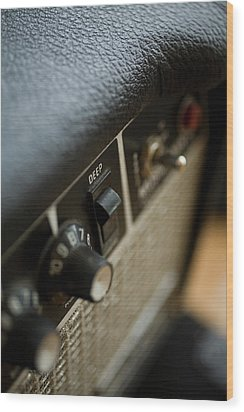 Extreme Close-up Angled Shot Of An Amplifier Wood Print by Christopher Kontoes