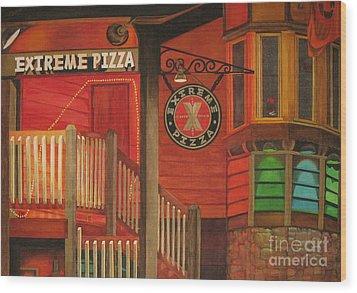 Extreme Pizza Wood Print by Vikki Wicks