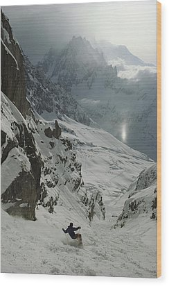 Extreme Skier Jean Franck Charlet Wood Print by Gordon Wiltsie
