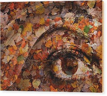 Eye Of Autumn Wood Print by Joe Bonita