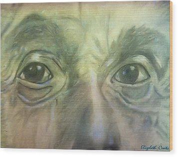 Wood Print featuring the drawing Eyes Of The Brain by Elizabeth Coats