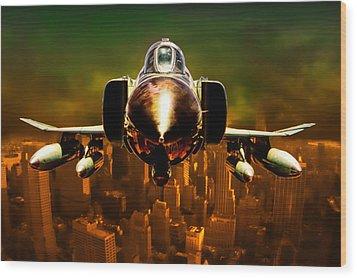 F-4 Wood Print by Michael Cleere