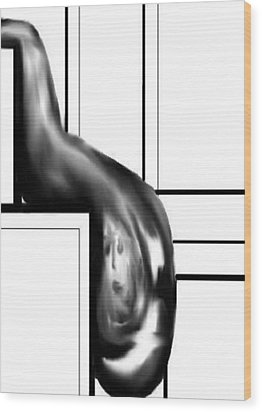 Wood Print featuring the digital art Face In Water Drop by Angela Stout