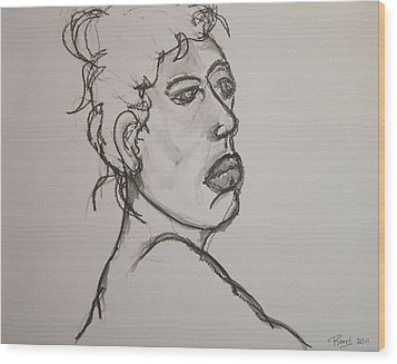 Face Of Nude Woman Wood Print