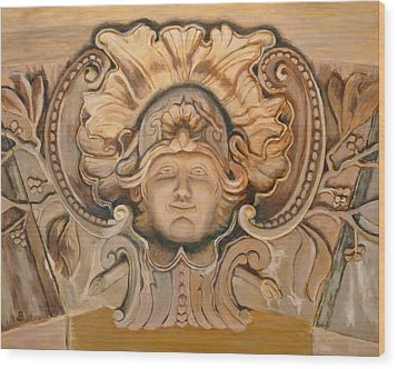 Wood Print featuring the painting Face On The Wall by Joe Bergholm