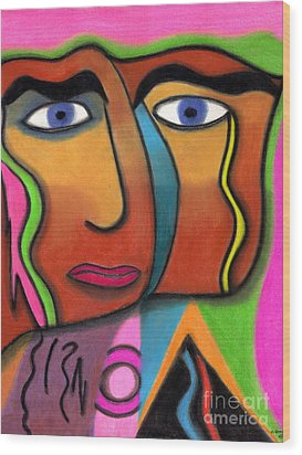 Face With Pink And Green Background Wood Print