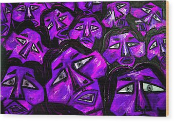 Faces - Purple Wood Print by Karen Elzinga