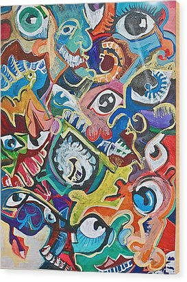 Faces In A Crowd Wood Print by Jame Hayes