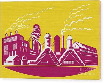Factory Building Power Plant Retro Wood Print by Aloysius Patrimonio
