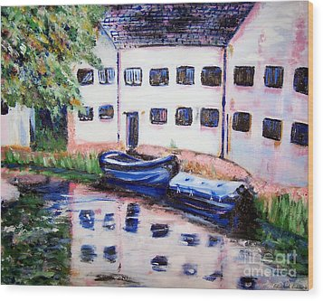 Factory On The River Wood Print by Isabella F Abbie Shores FRSA