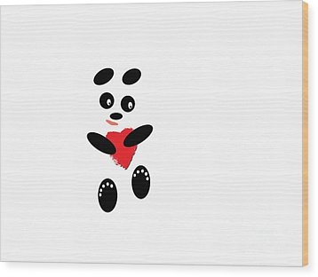 Fading Like A Flower. Panda In Love. #01 Wood Print by Ausra Huntington nee Paulauskaite