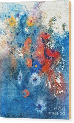 Wood Print featuring the painting Faerie Flowers by Joan Hartenstein
