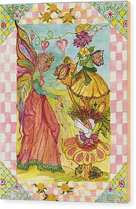 Faeries And Frogs Fantasy Wood Print by Cheryl Carrabba