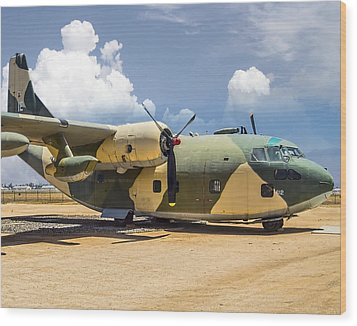Wood Print featuring the photograph Fairchild C-123  by Steve Benefiel