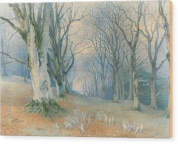 Fairies And Squirrels Wood Print by Richard Doyle