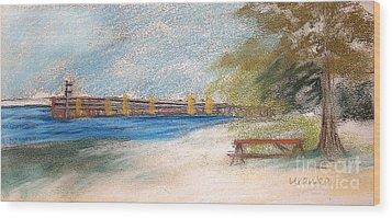 Fairport Harbor Pier Wood Print by Lisa Urankar