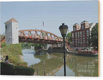 Wood Print featuring the photograph Fairport Lift Bridge by William Norton