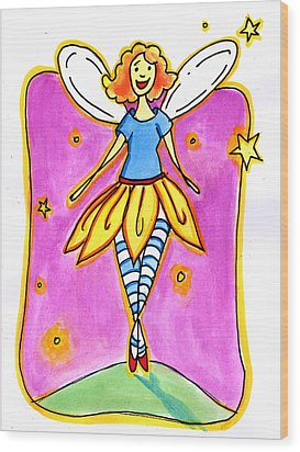 Wood Print featuring the mixed media Fairy Note by Nada Meeks