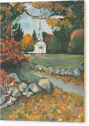 Fall At Martha-mary Chapel - Sudbury Wood Print by Lynn Babineau