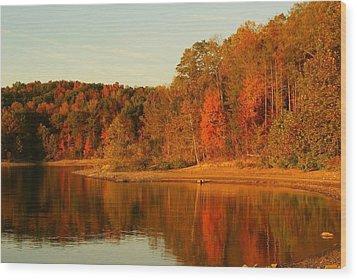 Fall At Patoka Wood Print by Brandi Allbright