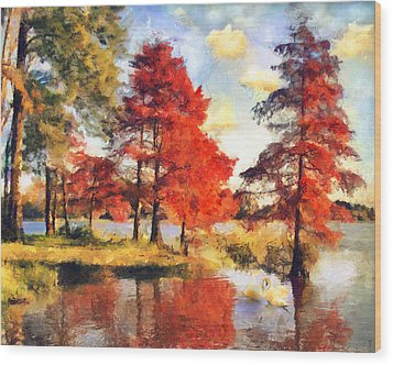 Fall At Swan Lake Wood Print by Jai Johnson