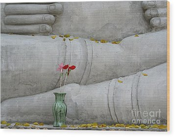Wood Print featuring the photograph Fall Buddha #1 by Nola Lee Kelsey