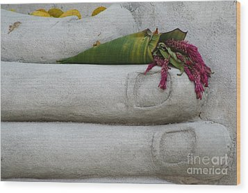 Fall Buddha #2 Wood Print by Nola Lee Kelsey
