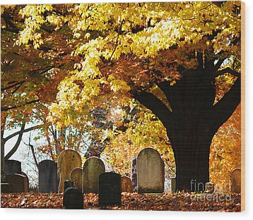 Wood Print featuring the photograph Fall Cemetery by Jeanne  Woods