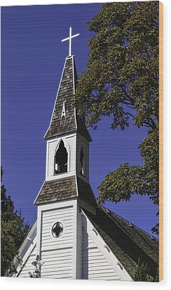 Wood Print featuring the photograph Fall Chapel by Ken Stanback